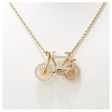 Rare 18K Vintage Diamond Bicycle Pendant