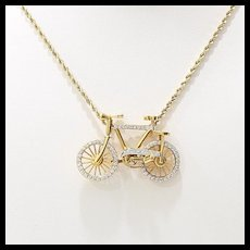 Rare 18K Vintage Diamond Bicycle Pendant
