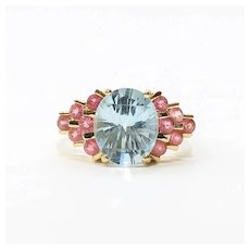 Lady's Vintage Custom 14K Aquamarine & Spinel Ring