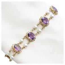 Lady's Vintage 14K Amethyst & Pearl Bracelet