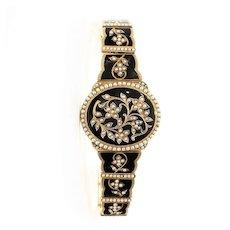 Circa 1880 Museum Quality Lady's 18K Enamel & Seed Pearl Bracelet