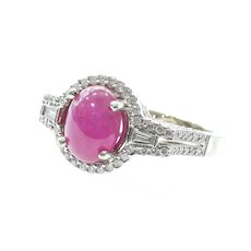 Magnificent Vintage Custom Lady's 18K Ruby & Diamond Ring