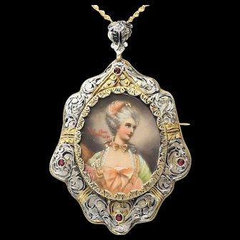 Circa 1890 Art Nouveau 10K & Silver Portrait Brooch / Pendant