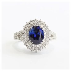 Vintage Custom Lady's 18K Sapphire & Diamond Ring