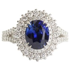 Vintage Custom Lady's 18K Sapphire & Diamond Ring