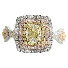 Magnificent Vintage Custom 18K Lady's Fancy Yellow & Pink Diamond Engagement Ring