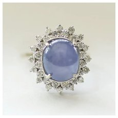 Lady's Art Deco 14K 15 Carat Sapphire & 1 Carat Diamond Ring