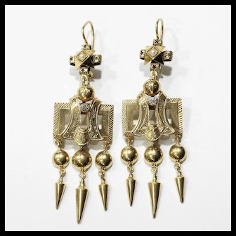 Lady's Circa 1880 Victorian 14K Pearl & Diamond Tassel Earrings