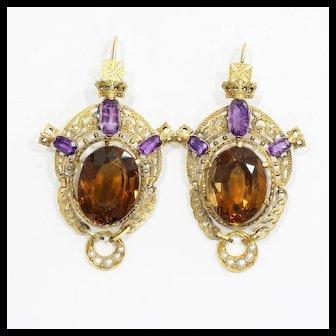 Antique Museum Quality Circa 1870 15K English Citrine & Amethyst Earrings