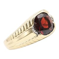 Gent's Vintage 14K Garnet & Diamond Ring
