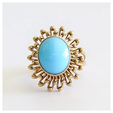Lady's Vintage 14K Persian Turquoise Ring