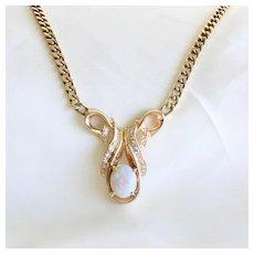 Lady's Vintage 14K Opal & Diamond Necklace