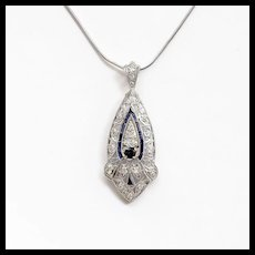 Circa 1905 Antique Lady's Edwardian Platinum Diamond & Sapphire Pendant