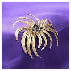 Lady's Retro 14K Floral Sapphire Brooch