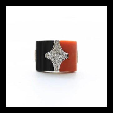 Lady's Art Deco 14K Coral & Onyx Diamond Ring