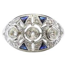 Lady's Antique Platinum Diamond & Sapphire Ring