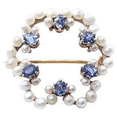 Lady's Vintage Circa 1940's Pearl & Sapphire Brooch