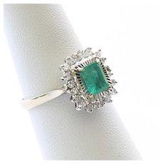 Lady's Vintage 18K Emerald & Diamond Ring