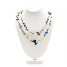 Vintage Zuni Turquoise & Stone Fetish Necklace