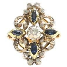 Circa 1900 Edwardian 18K & Silver Diamond & Sapphire Lady's Ring