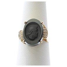 Lady's Art Deco 14K Carved Onyx & Diamond Ring
