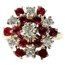 Lady's Vintage Circa 1940's Cluster Diamond & Ruby Ring
