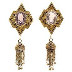 Circa 1900 Lady's 14K Amethyst Tassel Earrings