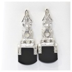 Lady's Circa 1920's Art Deco Diamond & Onyx Earrings