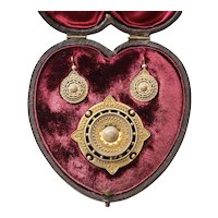 Circa 1860 Victorian 15K English Brooch Locket & Earrings