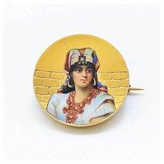 Egyptian Revival 18K Enameled Portrait Brooch