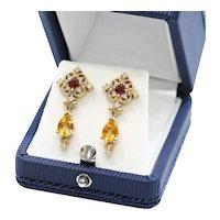 Lady's Vintage 14K Diamond, Citrine & Tourmaline Earrings
