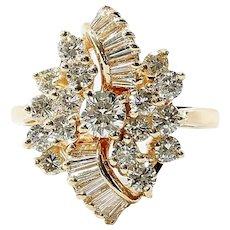 Circa 1910 Art Nouveau 14K Lady's Diamond Ring