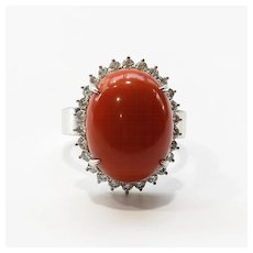 Lady's Vintage Custom 18K Coral & Diamond Ring