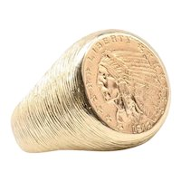 Gent's Dtd. 1912 $2 1/2 Gold Coin Ring