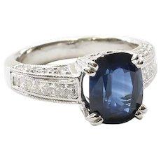Lady's Vintage Custom Platinum Sapphire & Diamond Ring