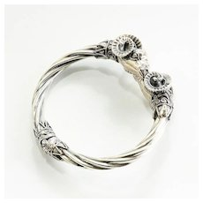 Vintage Circa 1920's Sterling Silver Greek Rams Head Clamper Bracelet