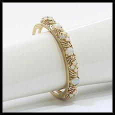 Lady's Vintage Custom 14K Opal Bangle Bracelet