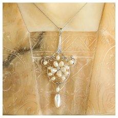 Lady' Circa 1910 14K Pearl & Diamond Lavaliere