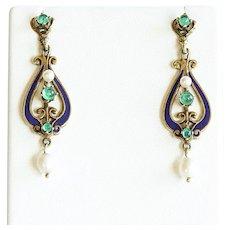 Lady's Circa 1890 14K Art Nouveau Enameled Emerald & Pearl Earrings