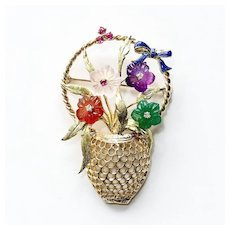 Lady's Vintage Custom 14K Flower Basket Brooch