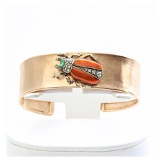 Art Deco 18K Rose Gold Egyptian Revival Enameled Bracelet