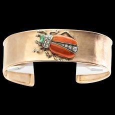 Art Deco 18K Rose Gold Egyptian Revival Enameled Bracelet