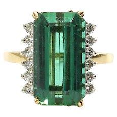 Lady's Vintage Custom 18K Tourmaline & Diamond Ring