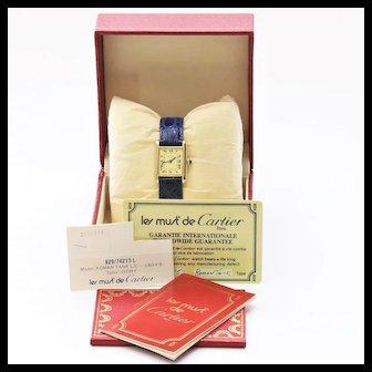 Lady's Vintage Manual Vermeil Silver Cartier Tank Watch