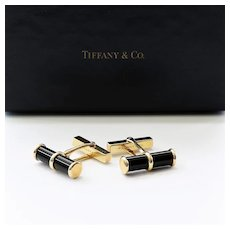 Signed Tiffany & Co. 14K Vintage Onyx Cufflinks