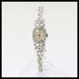 Lady's Platinum Art Deco Hamilton Diamond Watch