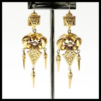 Lds. Circa 1880 Antique 14K Victorian Ruby & Pearl Earrings