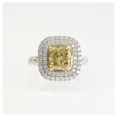 Lady's Custom Vintagae 18K 3 Carat Fancy Yellow Diamond Ring