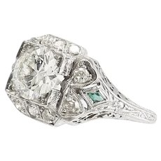 Art Deco Vintage Platinum 1.32 Ct. Diamond Engagement Ring