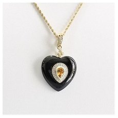 Lady's Vintage Art Deco 14K Onyx, Citrine & Diamond Heart Shaped Pendant